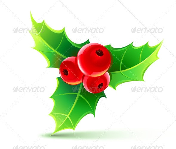 Holly Leaves and Berries - Christmas Seasons/Holidays