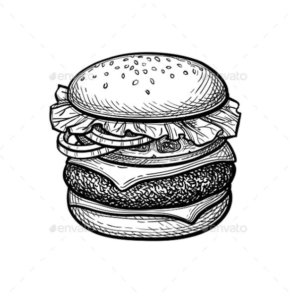 Ink Sketch of Hamburger