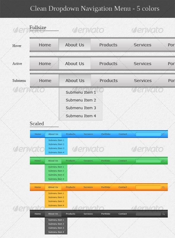 Clean dropdown navigation menu in 5 colors - Web Elements