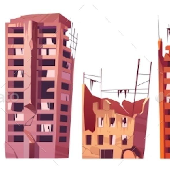 Destroyed City Buildings After War or Disaster