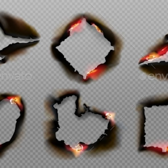 Burnt Holes in Paper with Fire and Black Ash