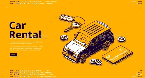 Vector Banner Of Car Rental By Klyaksun Graphicriver