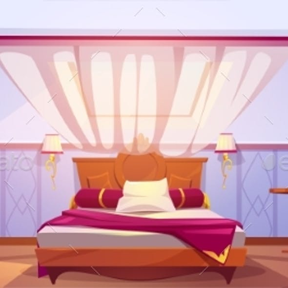 Attic Bedroom or Guest Room Interior Mansard Floor