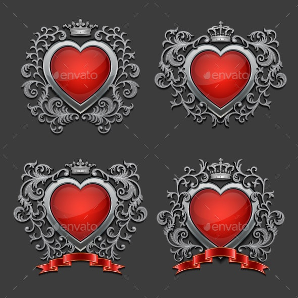 Set of Silver Hearts - Valentines Seasons/Holidays