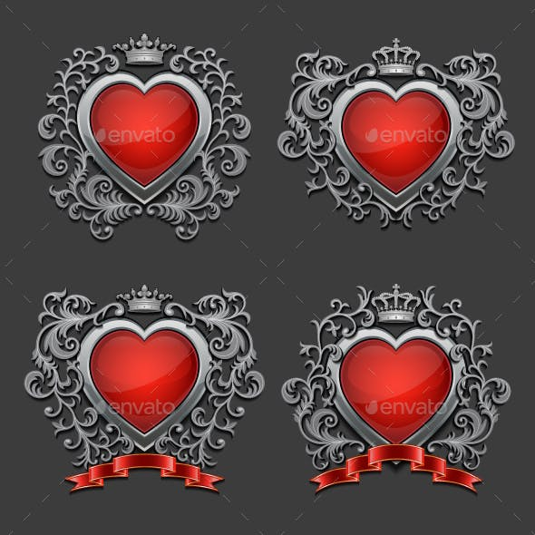 Set of Silver Hearts
