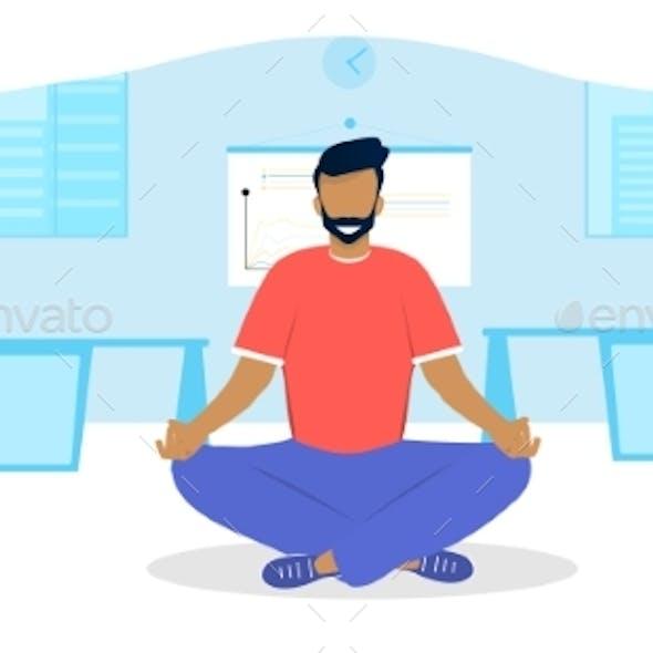 Vector Illustration Concept of Office Meditation