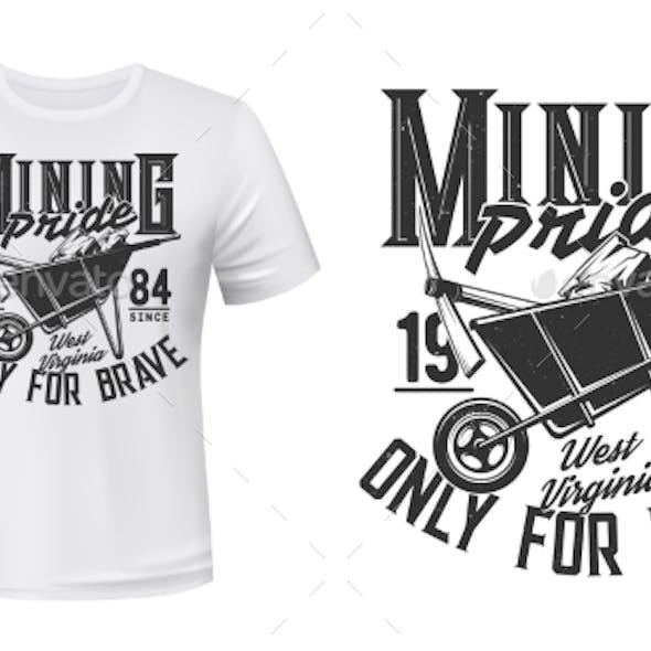 Mining T-shirt Print Vector Mockup, Coal Miner