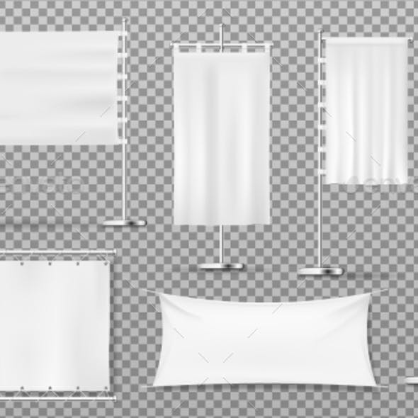 Advertising Banners, Flags, Blank White Templates