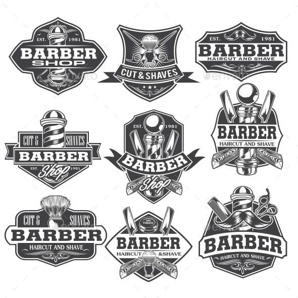 Barber Shop Hair Salon Hair Stylist Vintage  logo Luxury Pomade Retro Royal Vector Set 139