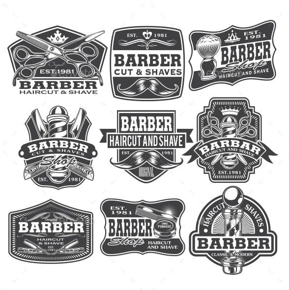 Barber Shop Hair Salon Hair Stylist Vintage Emblems