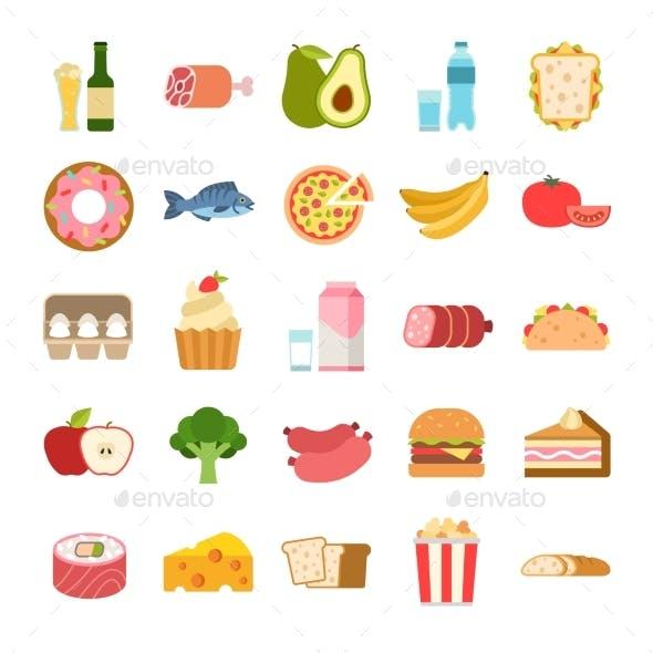 Flat Food Icons. Menu Planning Elements, Fruits