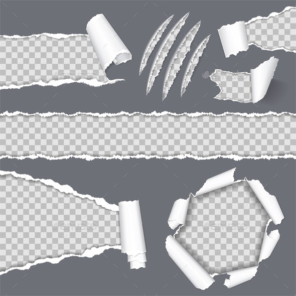 Realistic Seamless Torn Paper and Scratch Claws - Borders Decorative