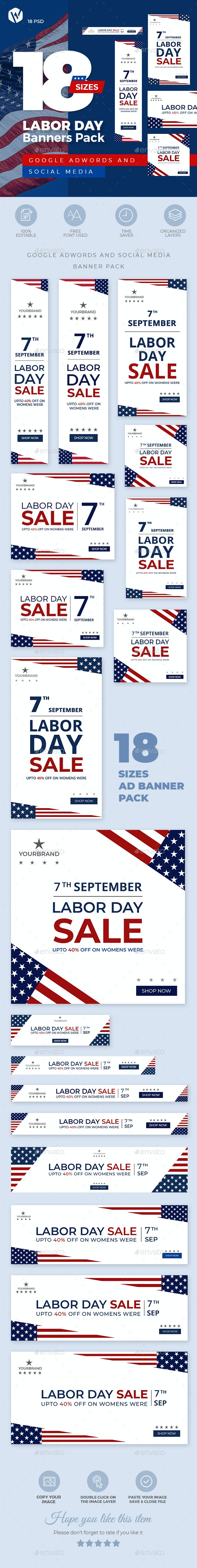18 Labor Day Ad Banners - Banners & Ads Web Elements