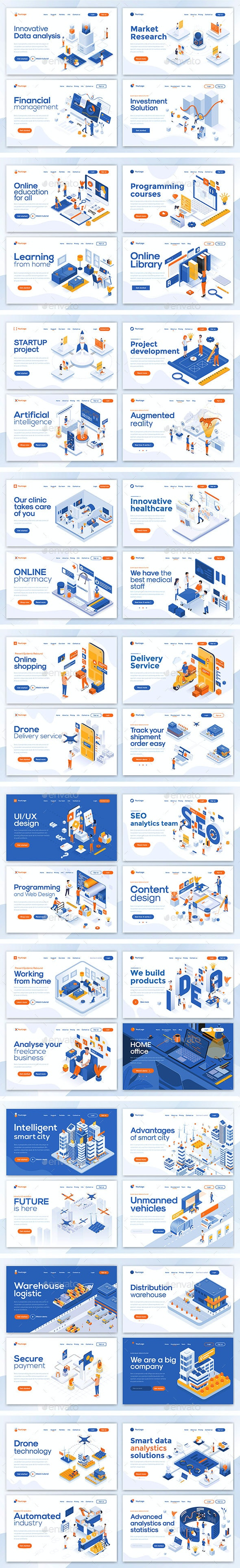 Collection of Landing Page Templates - Web Elements Vectors