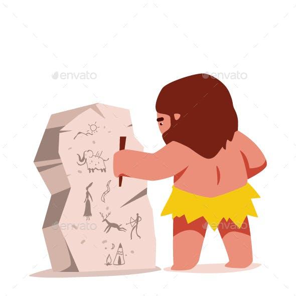 Caveman Vector Cartoon Character