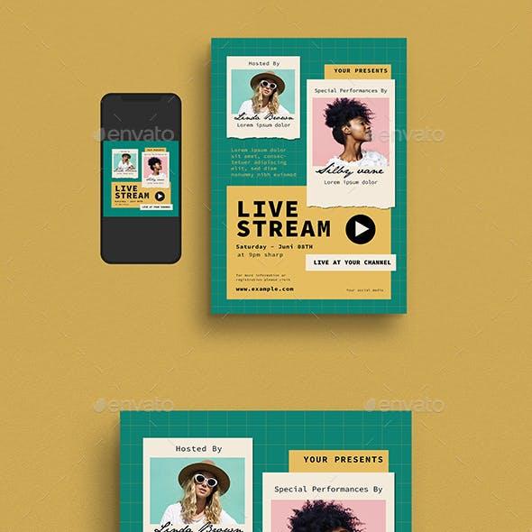 Live Stream Event Flyer Set