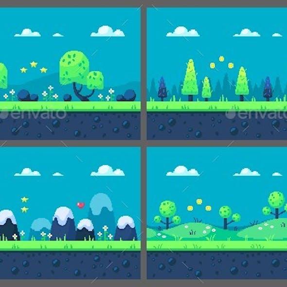 Set of Pixel Art Game Locations