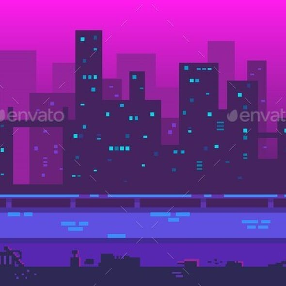 Pixel Art Playground Metropolis With Skyscrapers In The Evening