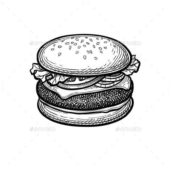 Ink Sketch of Hamburger.