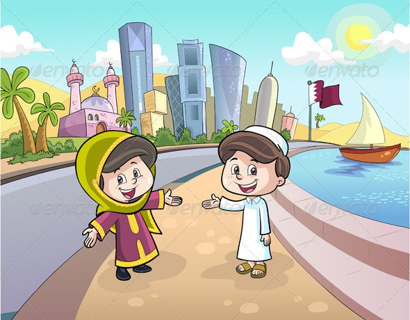 Boy and Girl in Qatar  - Characters Vectors