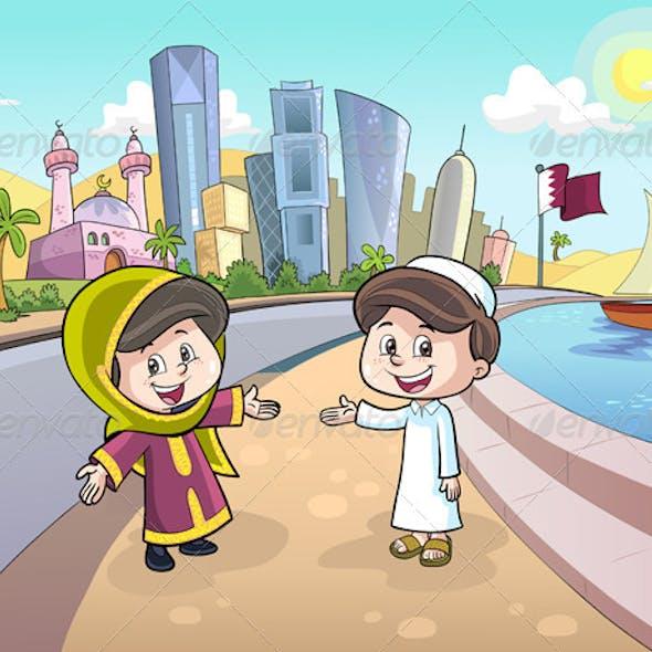 Boy and Girl in Qatar