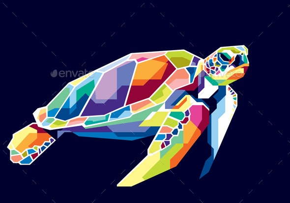 Colorful Turtle - Animals Characters