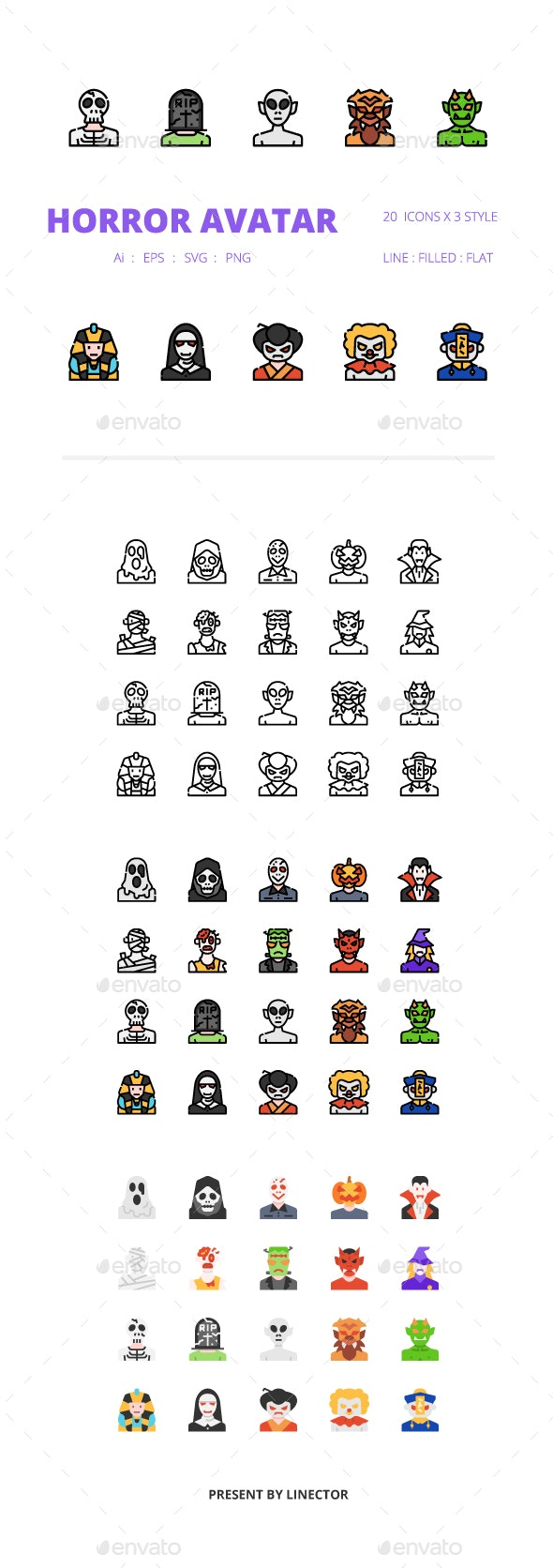 Horror Avatar Icons Packs - Monsters Characters
