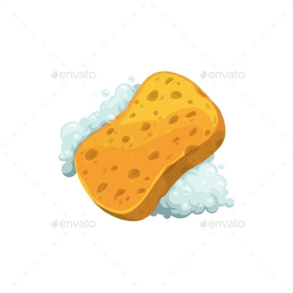 Washing Sponge in Foam Isolated Soapy Washcloth