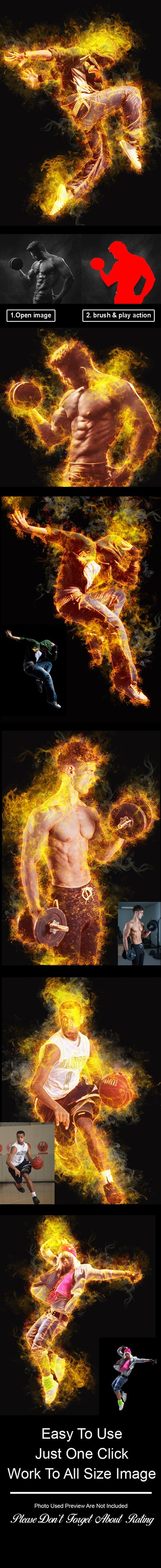 Amazing Flame Photoshop Action Vol 2 - Actions Photoshop