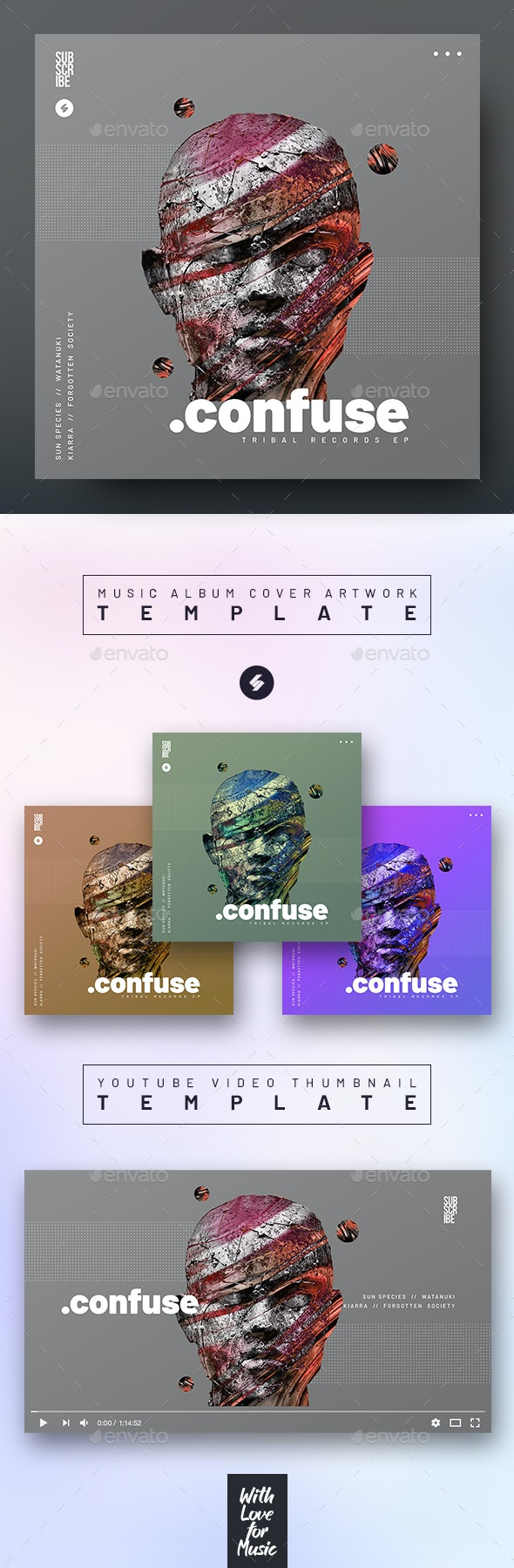 Confuse – Music Album Cover Artwork / Youtube Video Thumbnail Template - Miscellaneous Social Media