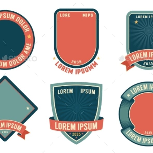 Retro Badge Template with Ribbons