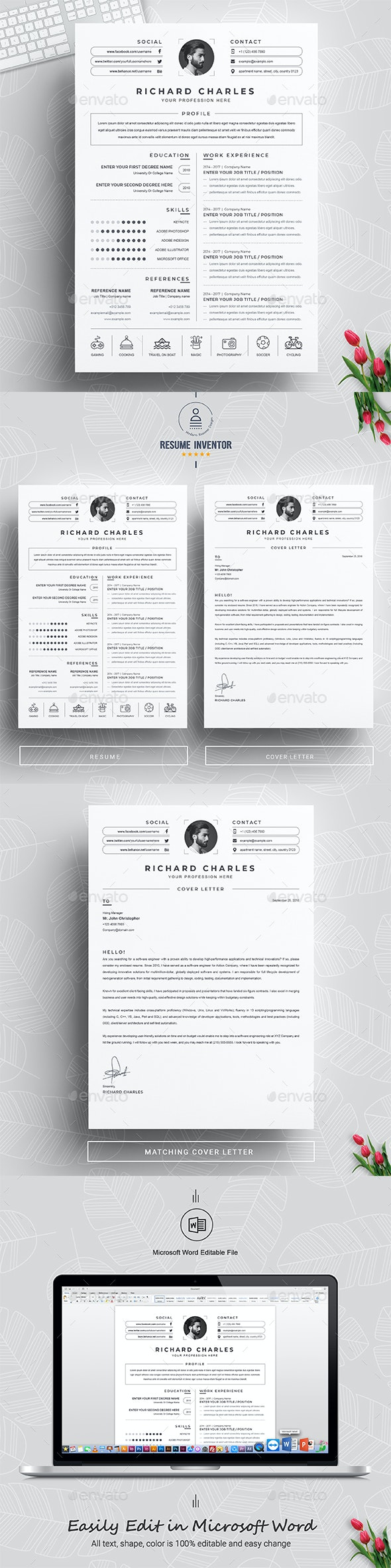 Clean and Modern Word Resume / CV - Resumes Stationery