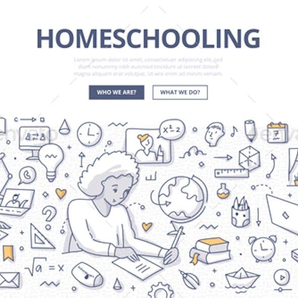 Homeschooling Doodle Concept