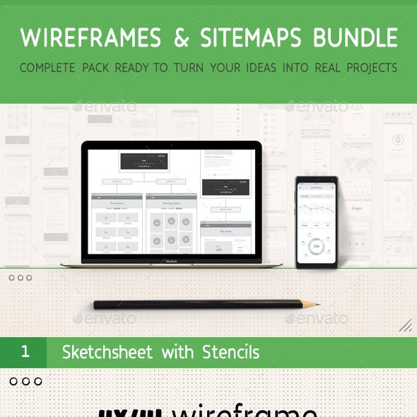 UX Workflow - Wireframes and Sitemaps Bundle