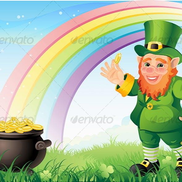 Leprechaun with a gold pot