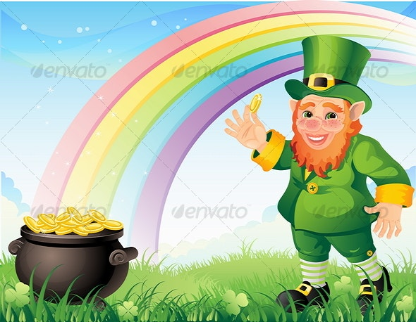 Leprechaun with a gold pot - People Characters