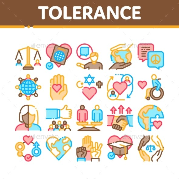 Tolerance And Equality Collection Icons Set Vector