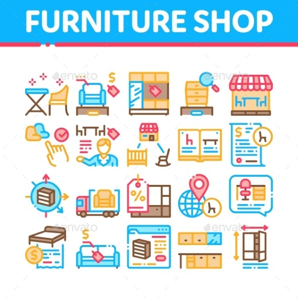 Furniture Shop Market Collection Icons Set Vector
