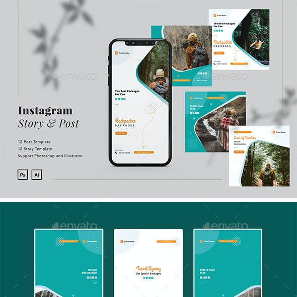 Backpacker Travel Instagram Ads Post & Story Template