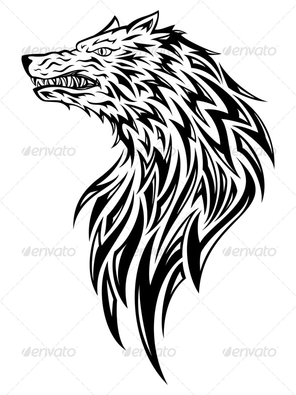 Wolf Head Tattoo - Tattoos Vectors