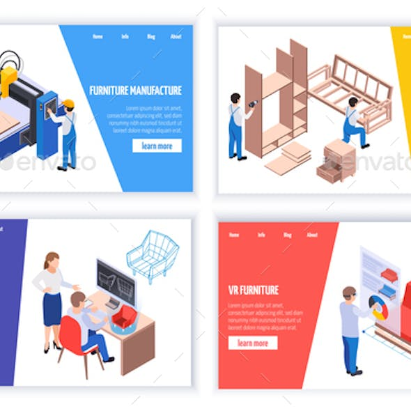 Furniture Production Isometric Banners