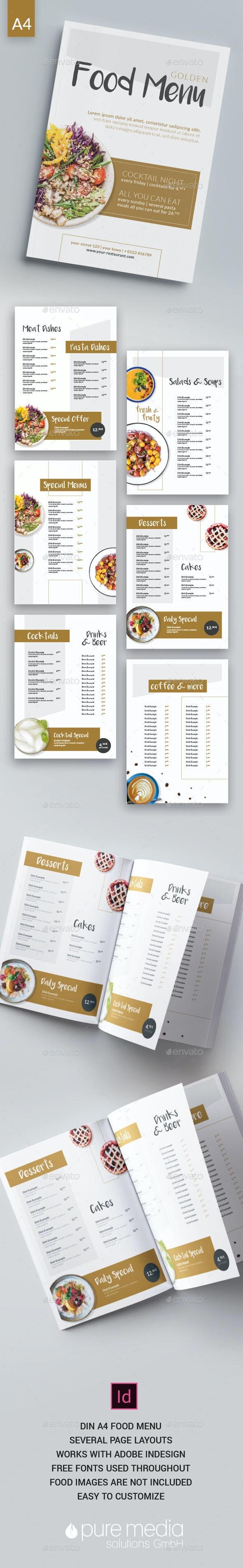 Golden Food Menu - Food Menus Print Templates
