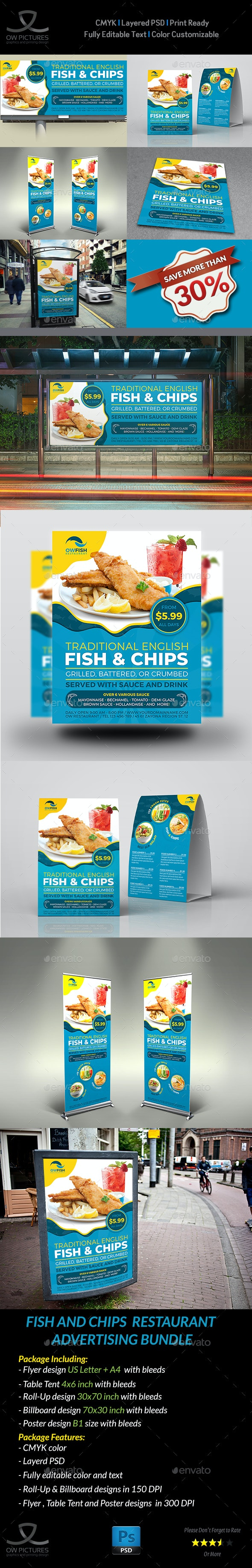 Fish and Chips Restaurant Advertising Bundle - Signage Print Templates