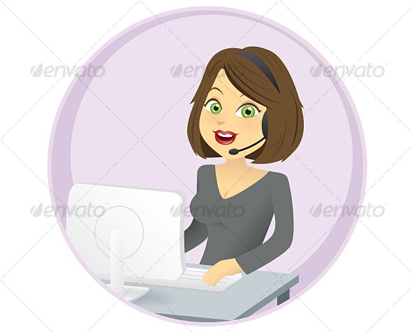 Illustration of a Woman in her Office - People Characters