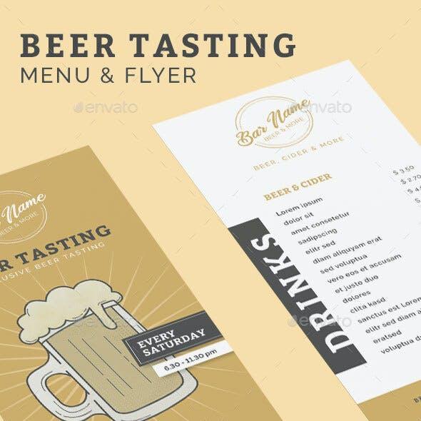 Beer Tasting Menu and Flyer