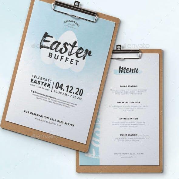 Easter Buffet Watercolor Menu