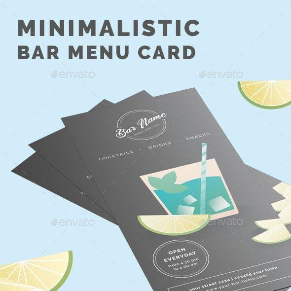 Minimalistic Bar Menu Card