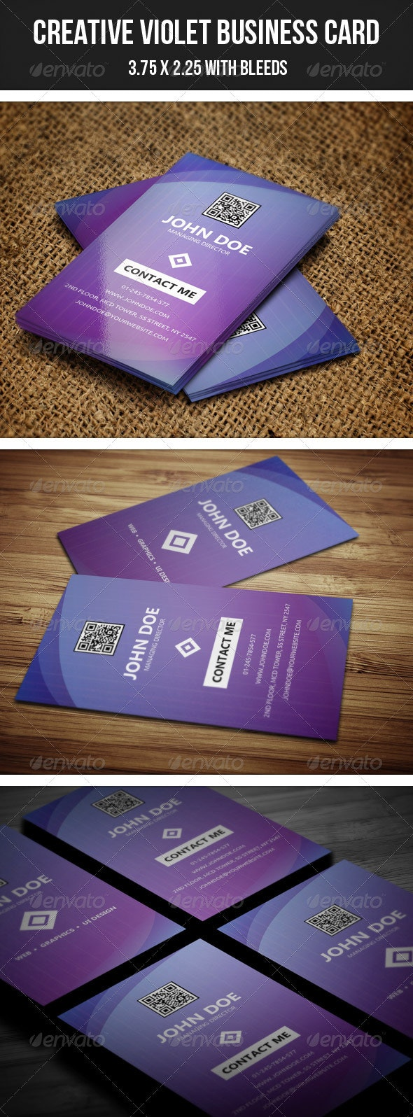 Creative Violet Business Card - Business Cards Print Templates