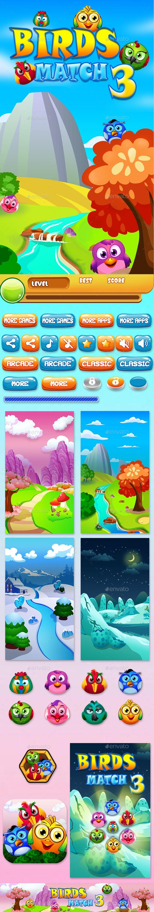 Match 3 Unity Asset Reskin: Birds - Game Kits Game Assets