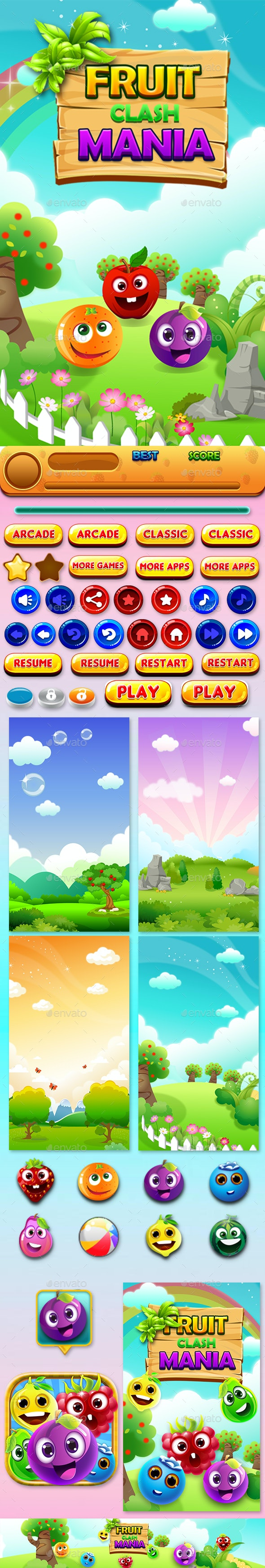Match 3 Unity Asset Reskin: Fruits - Game Kits Game Assets